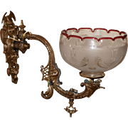 Rococo Gas Sconce with Boston & Sandwich Shade