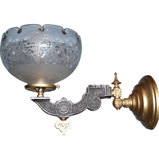 Neo-Grec Gas Sconce with Period Shade