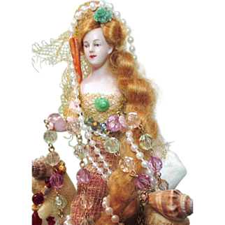 """9"""" Antique German Bisque Half Doll Fantasy Mermaid lady/ Jewelry Stand/ Fairytale art doll"""