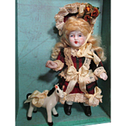 """Lovely 4 1/2"""" All Bisque Antique German Miniature little lady doll & Pony"""