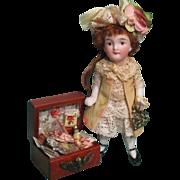 "Tiny 3"" All Bisque Antique German Mignonette Miniature Dollhouse doll & a mini keepsake box of accessories"