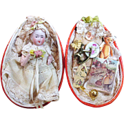 "Tiny Little 2 1/2"" All Bisque Antique German miniature dollhouse Baby doll in Paper Mache egg display"