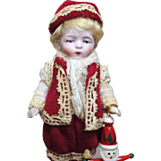 "Sweet Little 5"" All Bisque Antique German Miniature Dollhouse Boy"