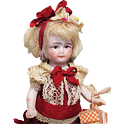 """Sweet & Tiny 3 1/2"""" All Bisque Antique German Miniature Dollhouse child/doll"""