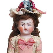 "4"" all Bisque Antique German Mignonette Little lady dollhouse doll"