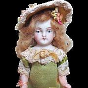 """Gorgeous 4"""" all Bisque Antique German Mignonette Little lady dollhouse doll"""