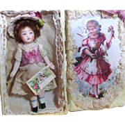 "Sweet & tiny Miniature 2 3/4"" All Bisque Dollhouse/ doll's doll in display box"