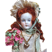 """"""" Forget Me Not"""" Beautiful 5 1/2"""" All Bisque Antique German Little Lady Doll house doll"""