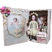 "Lovely 3 1/2"" All Bisque Antique German Miniature Doll house doll in Cherubs & Angels Room Box"
