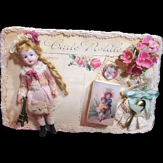 "Tiny 3"" Bisque (Swivel head) Miniature Vintage dollhouse doll on Keepsake Card"