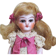 "Sweet Miniature 3 1/4"" (Glass eyes, Swivel neck) All Bisque Doll house doll/ doll's doll"