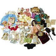 """Tiny vintage dresses, hats, pants & more for Miniature All bisque Dolls (2 1/2"""" to 5"""")"""