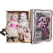 "Two Tiny  All Bisque 2 1/4"" Miniature Antique German Dollhouse dolls in Box"