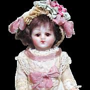"""Little Rose"" Sweet 4"" All Bisque (glass eyes) Miniature Antique German Mignonette Dollhouse doll"