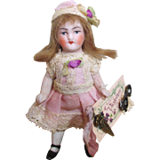 """Tiny 3 1/4"""" All Bisque Miniature Antique German Dollhouse doll"""