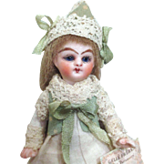 """Tiny 3 1/2"""" Miniature (Glass Eyes, Swivel Neck)  Bisque Doll House doll/ Doll's doll"""