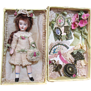 "Delicate & tiny Miniature 2 3/4"" All Bisque Dollhouse/ doll's doll in display box"