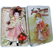 "Miniature 3 1/2"" All Bisque vintage Little doll house doll in display box"