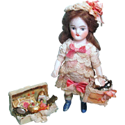 """ Vanity Girl"" Tiny 3 1/2"" All Bisque sweet Antique German Mignonette Dollhouse doll with a box of vanities"