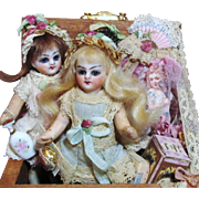 """Two Tiny 3 1/4"""" Antique Bisque Head (glass eyes, swivel neck), Composition Body Mignonette Dollhouse dolls in Trunk of accessories"""