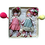 """Two Tiny 3 1/4"""" All Bisque Antique German Hertwig Flapper Dolls & A Puppy"""