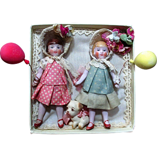 """Tiny 3 1/4"""" All Bisque Antique German Hertwig Flapper Doll & Puppy"""