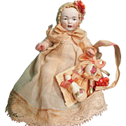 """Cute little 3 1/2"""" (Pink Bisque) All Bisque Antique German Miniature Baby doll"""