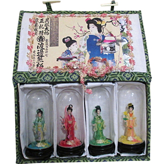 Set of 4 Vintage Miniature Oriental Dollhouse Size Japanese art Figurines/ dolls in glass dome/ Original Box