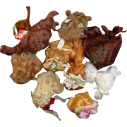 """Group of 10 Mini Mohair Doll wigs for tiny 2 1/2""""-6"""" all bisque Antique German, French/ Mignonette / Doll house dolls"""