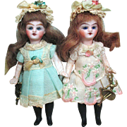 """"""" Fairy Tale Sisters"""" Two Tiny & delicate Miniature 3 1/2"""" (Glass eyes, Swivel neck) all Bisque, Doll house dolls/ doll's doll"""