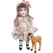 """Lovely 3 1/4"""" All Bisque Antique German Miniature Dollhouse doll & pony"""