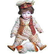 "So tiny & cute 3"" all Bisque Antique German Miniature Boy doll & cat"