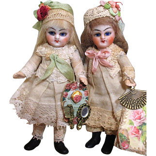 "Sweet Little couple of 4"" Antique German (glass eyes) Boy & 3 1/2"" All Bisque Antique German girl dolls & Puppy"