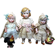 "Three Sweet & Tiny 3 1/2""-4"" All Bisque Antique German Miniature Dollhouse dolls"