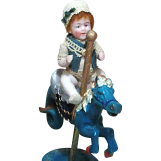 """""""Tiny Boy & the Magic Horse"""" Cute little 4"""" All Bisque Antique German Baby boy doll & Carousel Horse"""