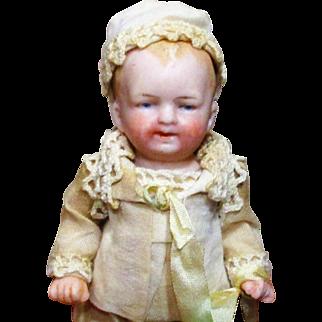 """Sweetest 4 1/2"""" All Bisque Antique German Baby boy & puppy"""