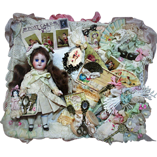 """Sweet 4"""" (Glass eyes, Swivel neck) All Bisque Antique German Mignonette Doll & dolly in vignette box"""