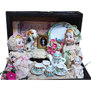 """"""" Tea Party"""" Three all Bisque Antique German Miniature Baby dolls & a dolly in trunk of accessories & More"""