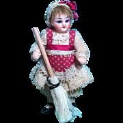 "Sweet little 3 1/2"" Bisque Head (glass eyes, swivel neck) Antique German Miniature Dollhouse mignonette doll"