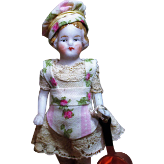"Tiny 3"" All Bisque Antique German Miniature Dollhouse Chef doll"