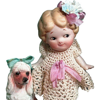 "Sweet Little 5"" All Bisque Miniature Dollhouse doll & puppy"