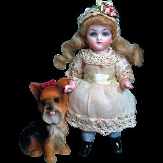 "Sweet 4 1/2"" All Bisque Antique German (Glass eyes) Miniature Dollhouse Doll & Puppy Friend"