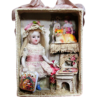 "Sweet & Tiny 3"" All Bisque Antique German dollhouse doll & kitten in mini room box display"