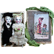 "Two Tiny 2 1/2"" All Bisque Antique German Miniature Dollhouse dolls in keepsake box"