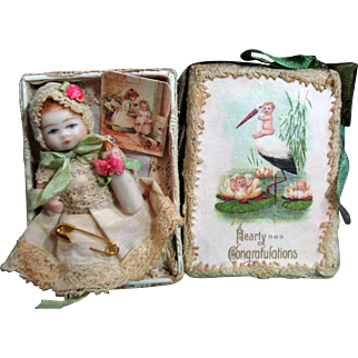 """Tiny 2 1/2"""" All Bisque Miniature Dollhouse baby doll in vignette box"""