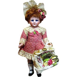 "Sweet 4"" All Bisque (glass eyes) Antique Miniature German Doll & 3"" All Bisque Vintage Dolly Friend"