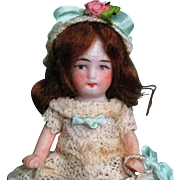 """Sweetest 31/2"""" All Bisque Antique German Miniature dollhouse doll"""