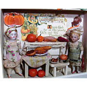 """ Thanksgiving Preparations"" Two Tiny 3"" All Bisque dollhouse Antique chef Dolls in Thanksgiving Room Box/ Dollhouse"
