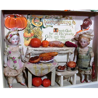 """"""" Thanksgiving Preparations"""" Two Tiny 3"""" All Bisque dollhouse Antique chef Dolls in Thanksgiving Room Box/ Dollhouse"""