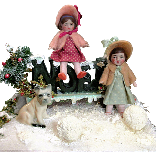"""Magical """" Snow Time Girls & Puppy"""" Two Sweet 3"""" All Bisque Antique Hertwig sister dolls, Puppy & Snow Display"""
